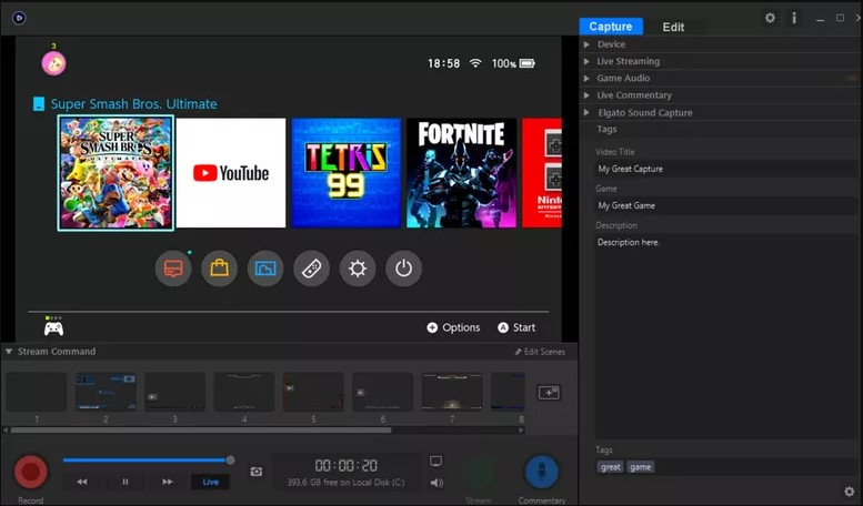 Nintendo Switch home screen on your laptop